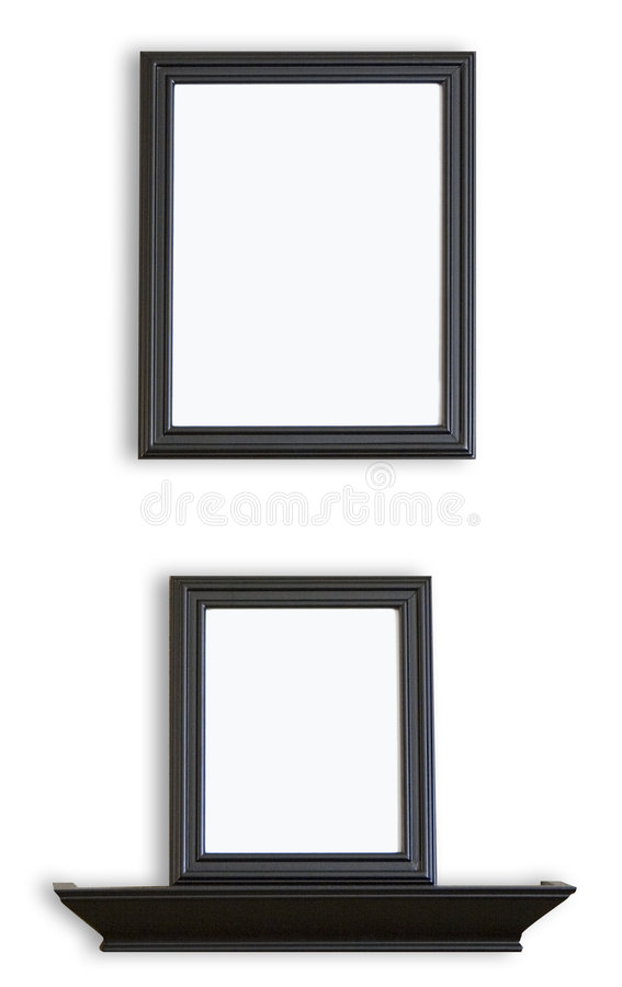 Black Blank Picture Frames and Shelf. Black Picture Frames stacked one above the other with a blank inside for your images or text royalty free stock photo