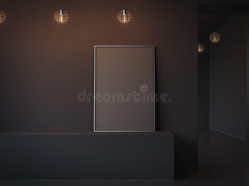 Black blank poster on dark shelf. 3d rendering. Black blank poster on shelf in minimalistic interior. 3d rendering royalty free stock photography