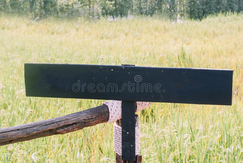 A black blank sign made of wooden as a copy space ready to put text on it with rice field in the background royalty free stock photos