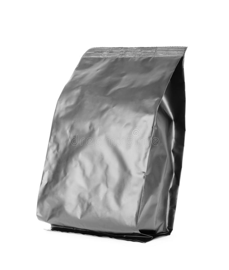 Black blank Snack bag package on white background royalty free stock image