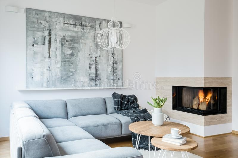 Black blanket thrown on grey corner lounge in white living room interior with fireplace, fresh tulips in vase and big modern pain stock photo