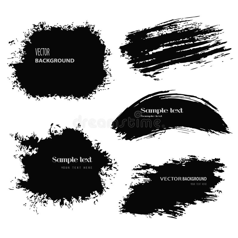 Black blobs. Set of grunge vector and ink brushes. Abstract black design elements royalty free illustration