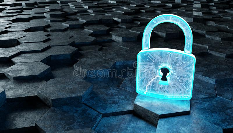 Black and blue padlock icon on hexagons background 3D rendering. Black blue abstract padlock icon on hexagons background 3D rendering stock illustration