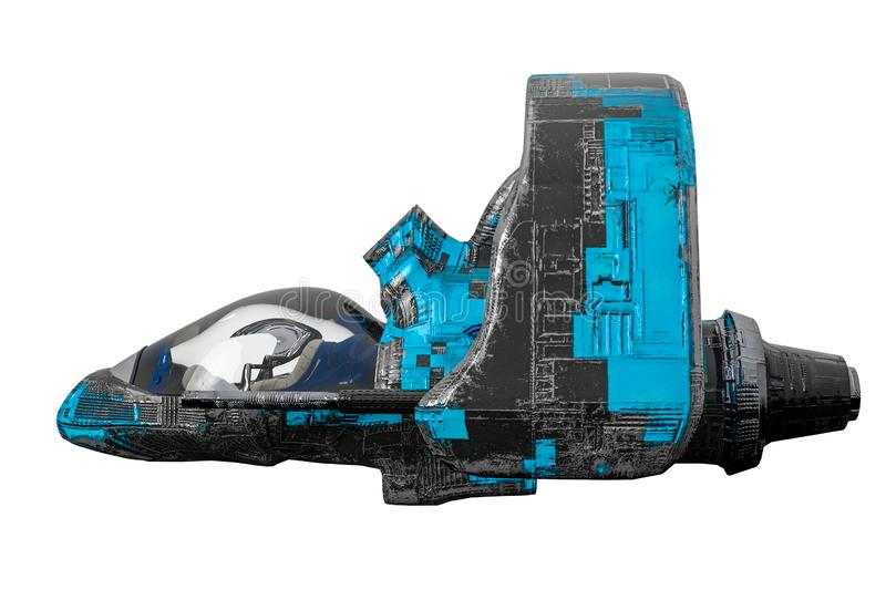 Black and blue aircraft alien space ship exploring around stock illustration