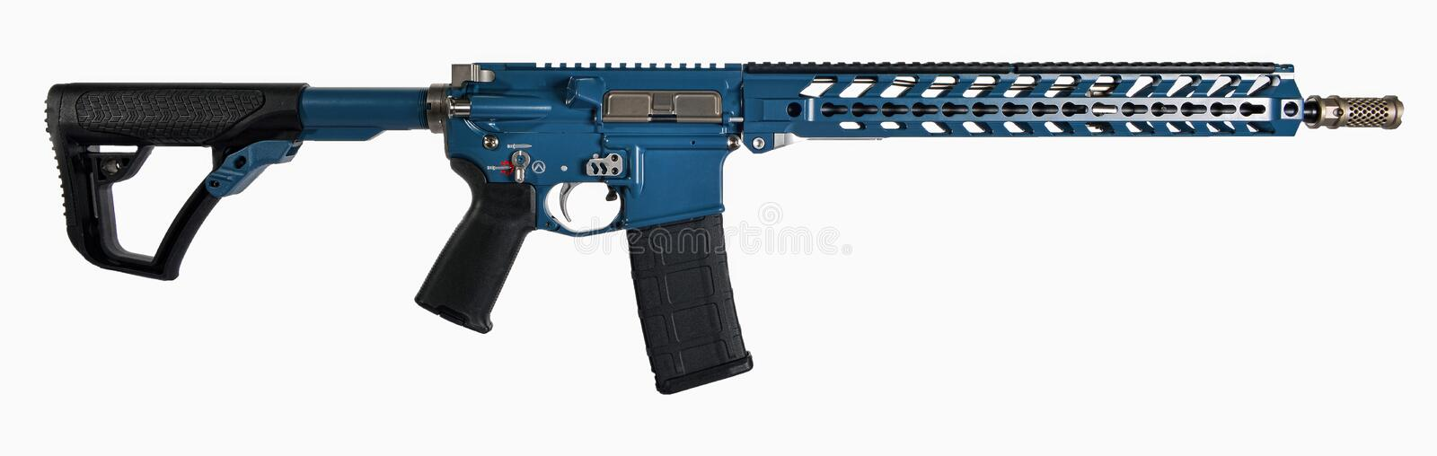 Black & Blue AR15 rifle with SS accents isolated on white background. royalty free stock photography