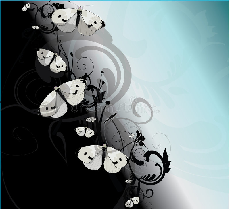 Black and Blue Butterflies stock illustration