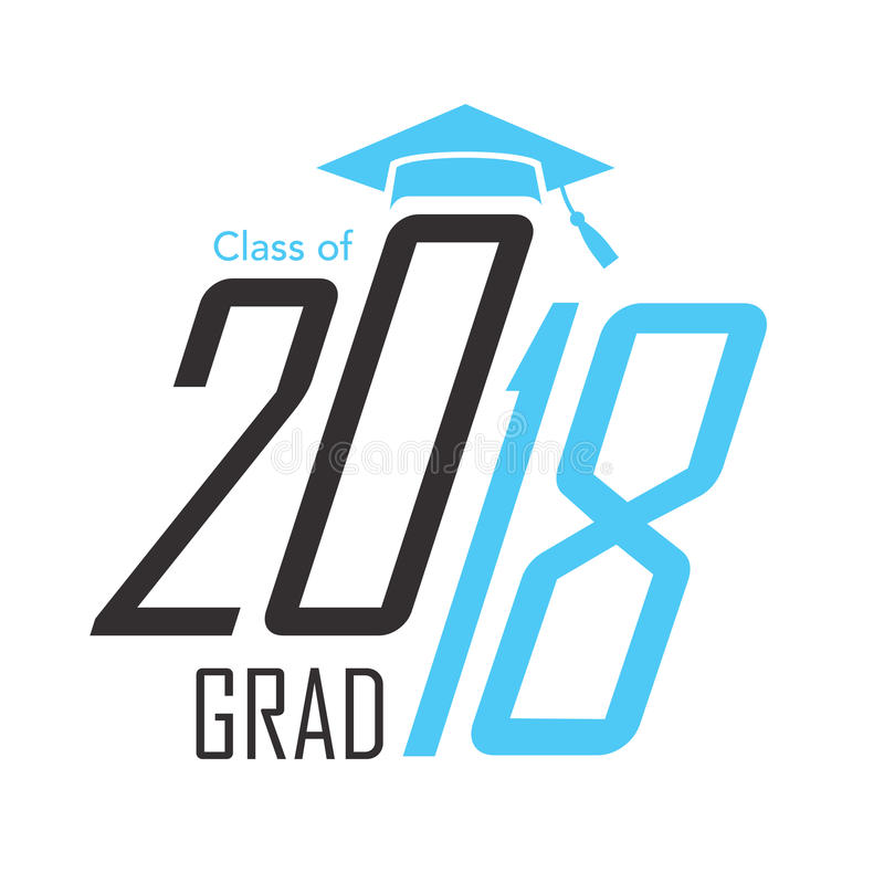 Black and Blue Class of 2018 Grad Vector Graphic with Graduation royalty free illustration