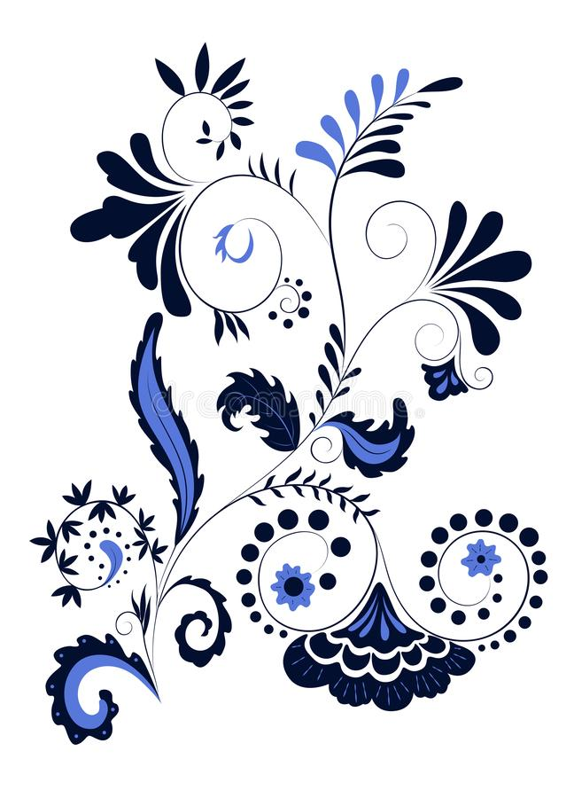 Black and blue colored floral decorative tattoo pattern with flowers and leaves on white background stock illustration
