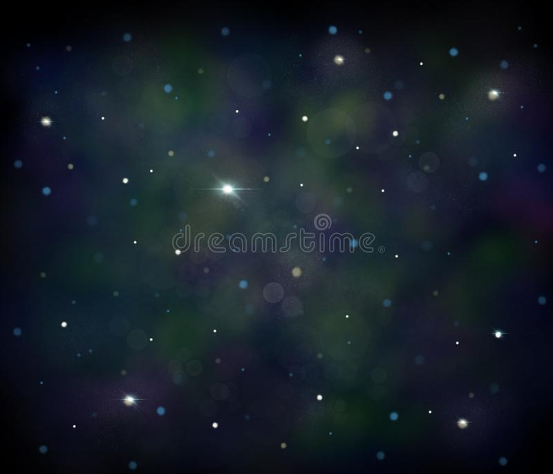 Black, blue and green space illustration background with a bright white stars vector illustration