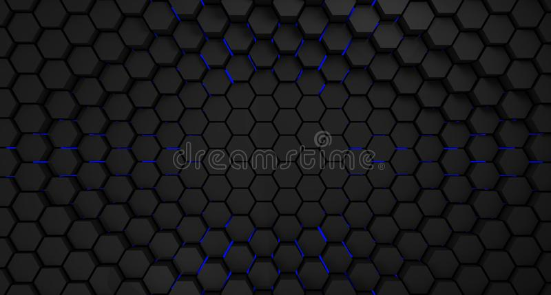 Black and blue metal hexagons abstract background, 3d render royalty free illustration