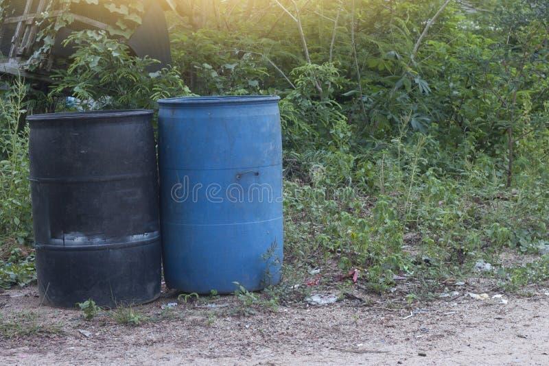 Black and blue plastic bin. royalty free stock photos