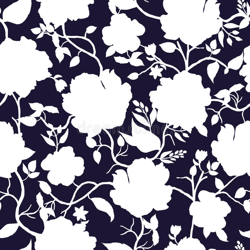 Black blue and white floral seamless pattern. vector illustration