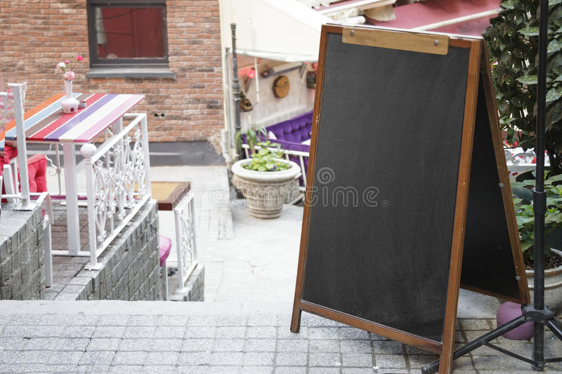 Black board cafe menu board. Empty black board cafe menu board stock images