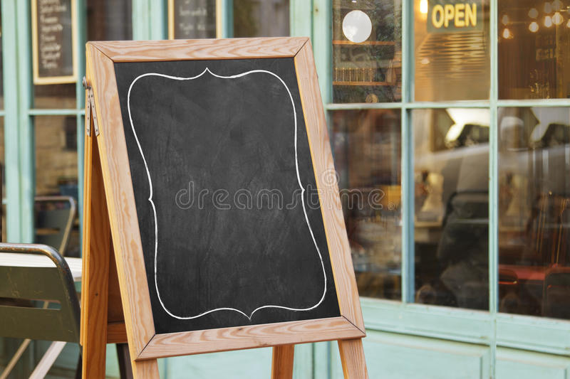 Black board cafe menu board. Empty black board cafe menu board royalty free stock images