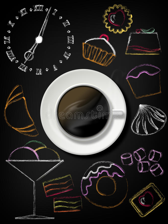 Black board with coffee cup, plate and design sweet elements stock illustration