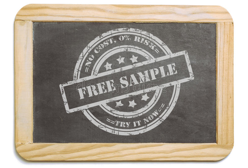 Black board with layered chalk message. Black board with wooden frame, layered grund design chalk message in stamp form: Free Sample, no risk. Isolated on white royalty free stock photography