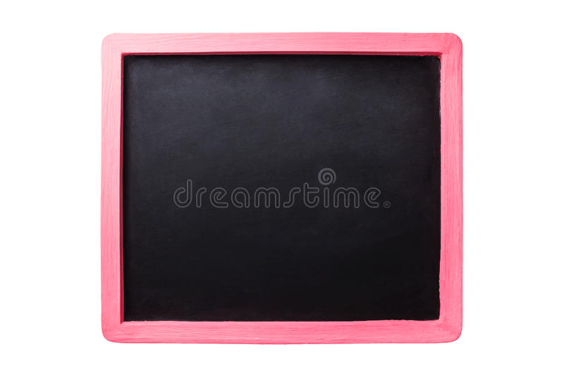 Black board with pink border. Empty Black board with pink border on isolate white background royalty free stock images
