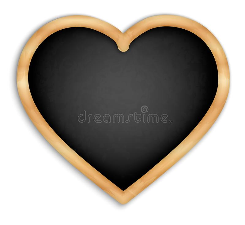 Black slate isolated4. Black board in the shape of a heart. With wooden frame. Menus for cafes and restaurants. Realistic style. Isolated on white background royalty free illustration