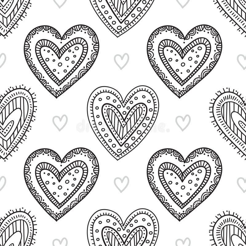 Black boho ornamental hearts seamless pattern stock illustration