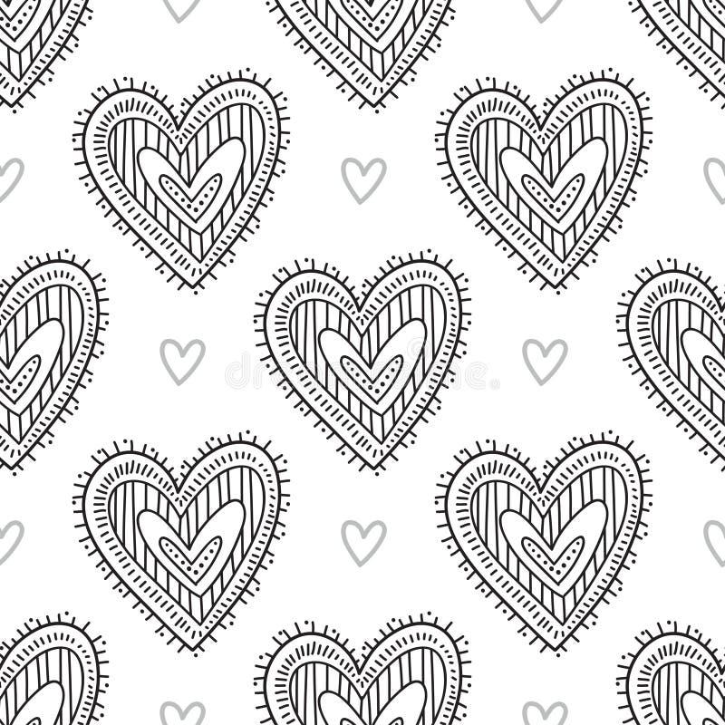 Black boho ornamental hearts seamless pattern royalty free illustration