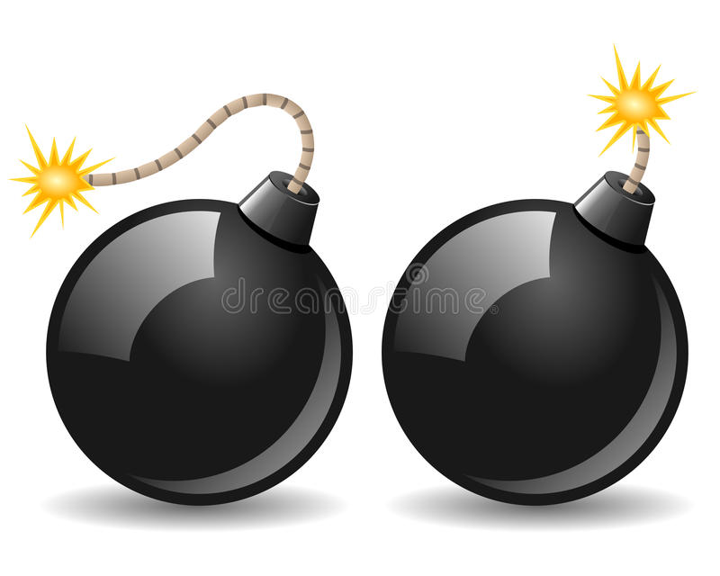 Black Bomb Icon. Burning in two different versions, isolated on white background. Eps file available vector illustration