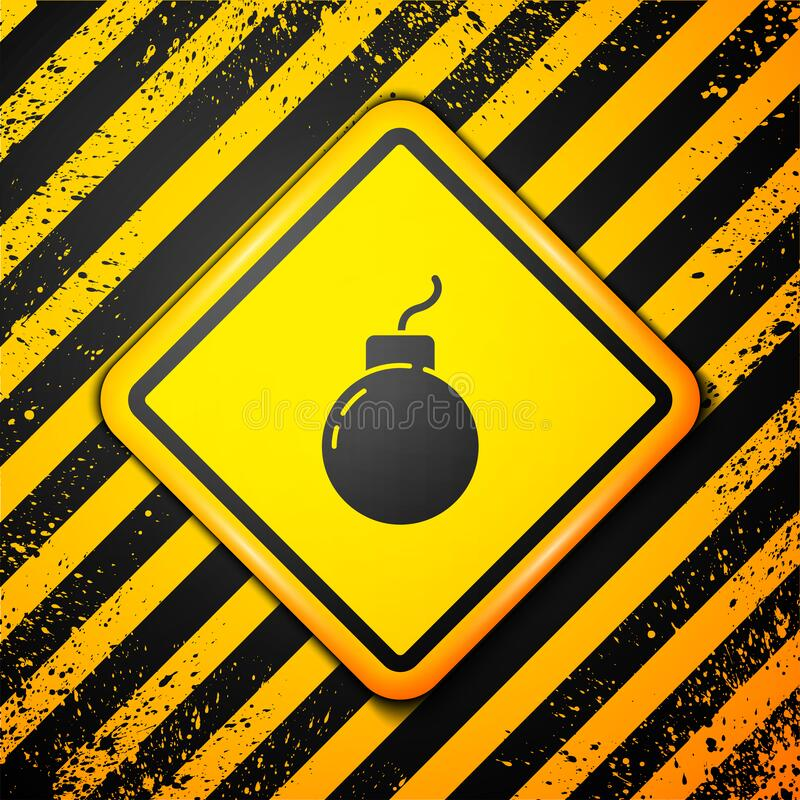 Free Black Bomb Ready To Explode Icon Isolated On Yellow Background. Warning Sign. Vector Royalty Free Stock Image - 199393166