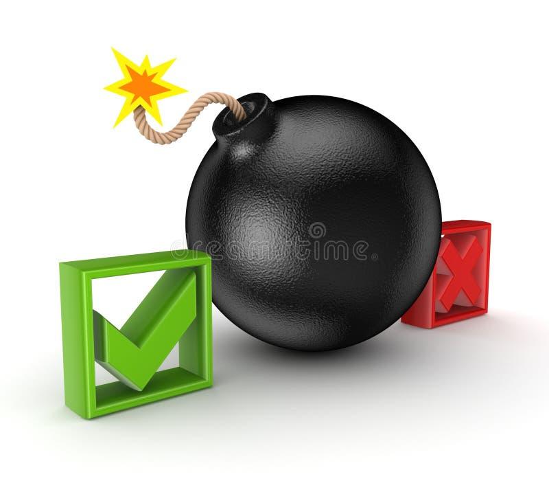 Download Black Bomb Between Tick And Cross Mark. Stock Illustration - Image: 28872309