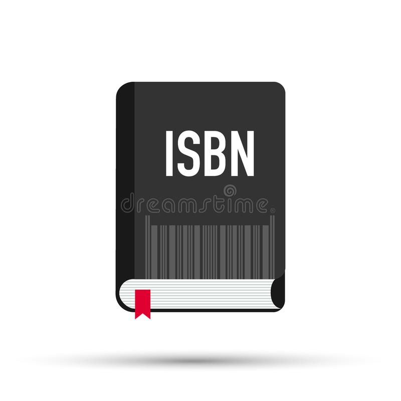 Black book with isbn bar code. concept of booklet, ebook, commercial standard literature, open book logo, press. stock illustration