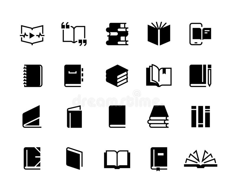 Black books icons. Study education book set, textbook magazine diary bible business collection. Vector logo vector illustration
