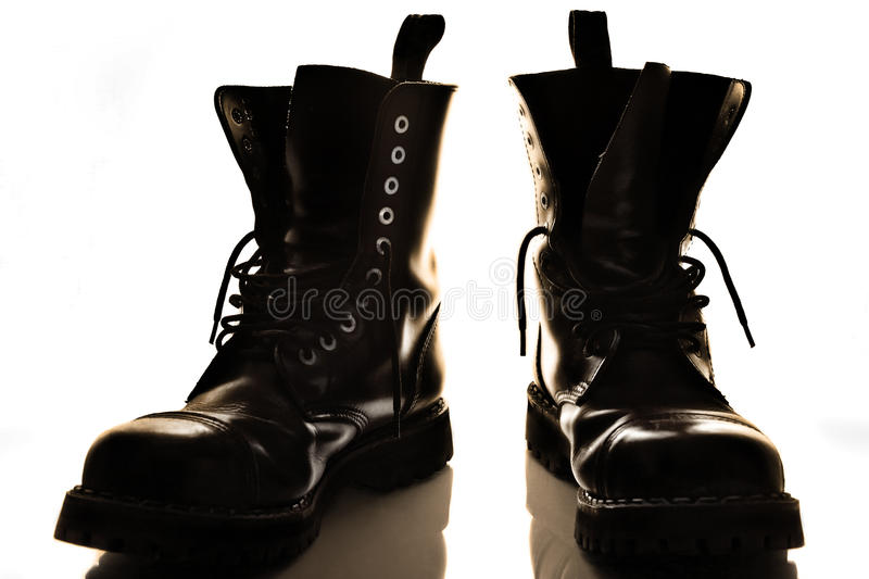 Download Black boots stock image. Image of travel, black, muddy - 11385445