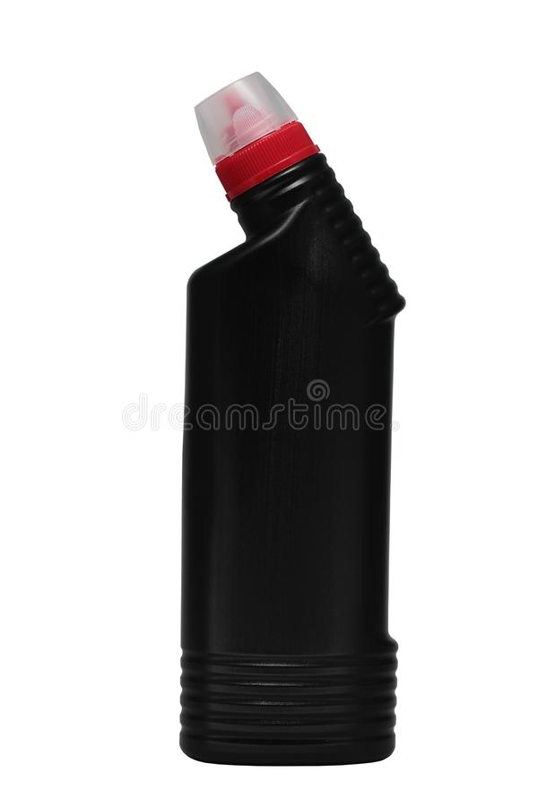 Black bottle of liquid drain cleaner with red cap on isolated white background royalty free stock images