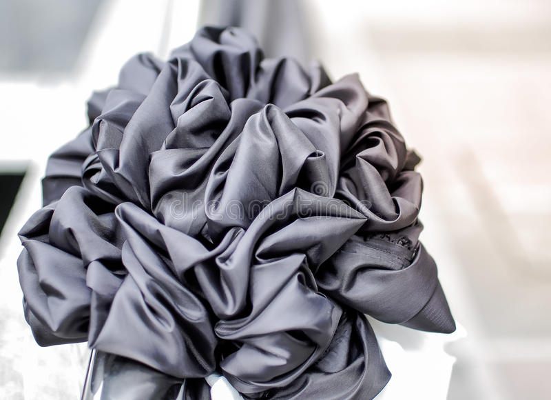 Black Bow for Funeral, Retro Tone (Funeral, mourning, black). Selective Focus and Close up Black Bow for Funeral, Retro Tone (Funeral, mourning, black royalty free stock photos