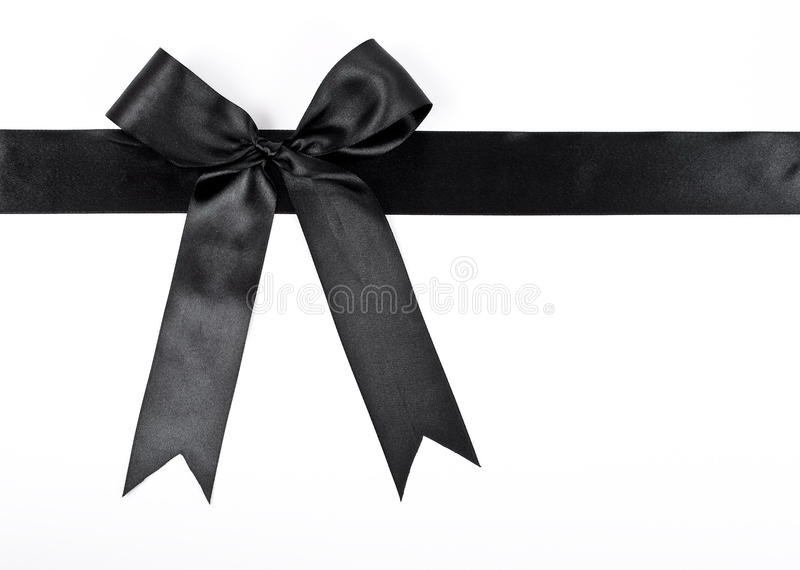 Black bow with ribbon royalty free stock photo