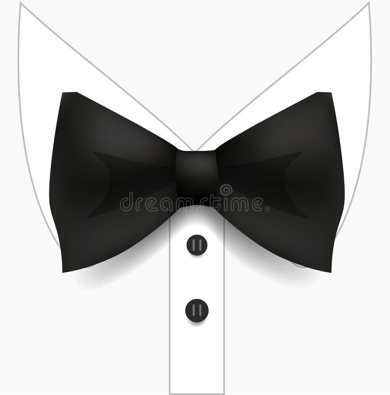 Black Bow Tie and White Shirt. Man Fashion Style. realistic Vector Illustration. royalty free illustration