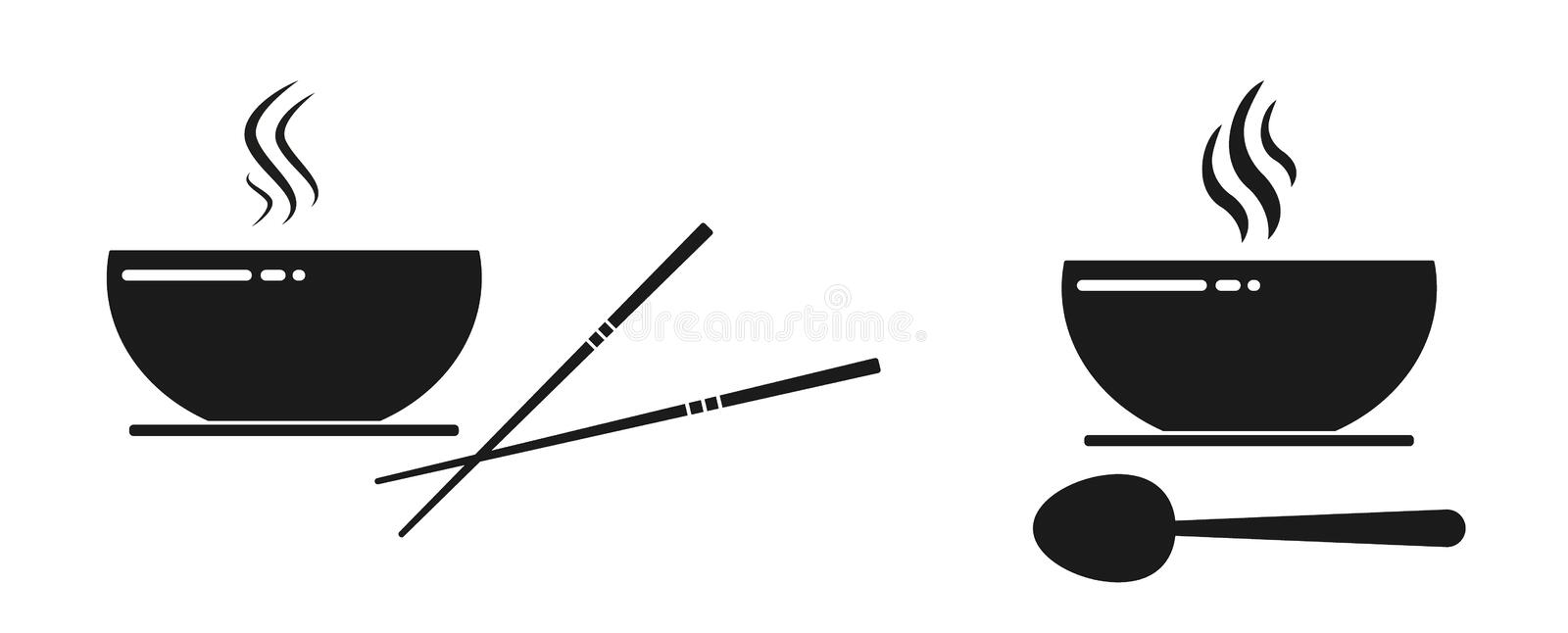 Black bowl with soup icon and spoon vector illustration
