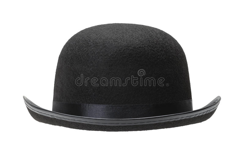 Black Bowler Hat. Front View Cut Out on White Background stock photography