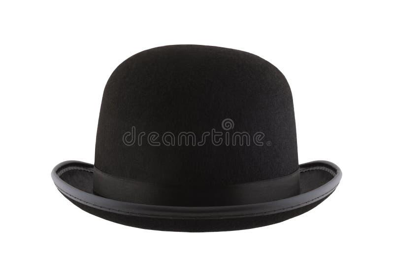 Bowler hat isolated on white background. Black bowler hat isolated on white background royalty free stock image