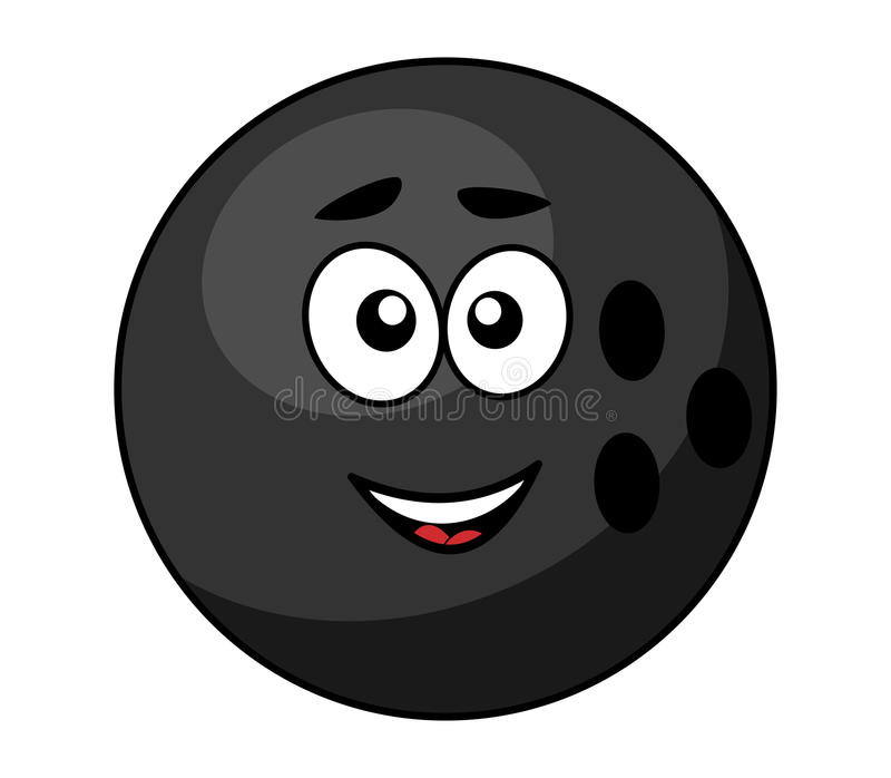 black bowling ball with a happy smile stock vector