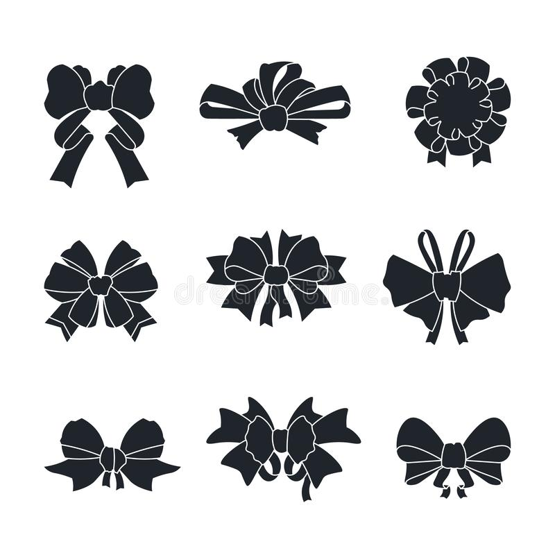 Black bows and ribbons. Gift ties silhouettes isolated on white, birthday gift and New Year present bows. Vector vector illustration