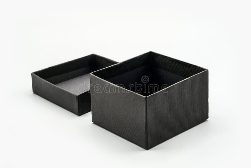 Black box mock up white isolated background. Handmade black box mock up white isolated background stock images