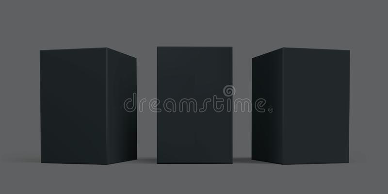 Black box package mock-up. Vector black carton cardboard or paper package boxes, isolated 3D models templates royalty free illustration