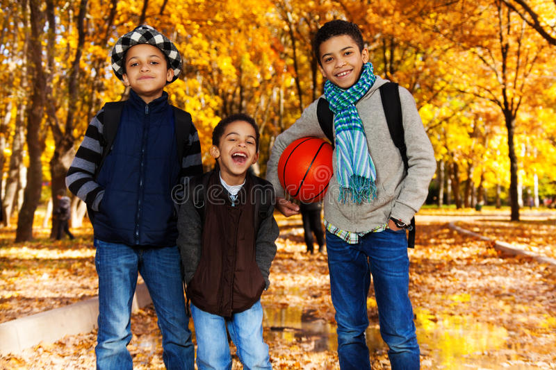 Black boys with basketball ball royalty free stock images