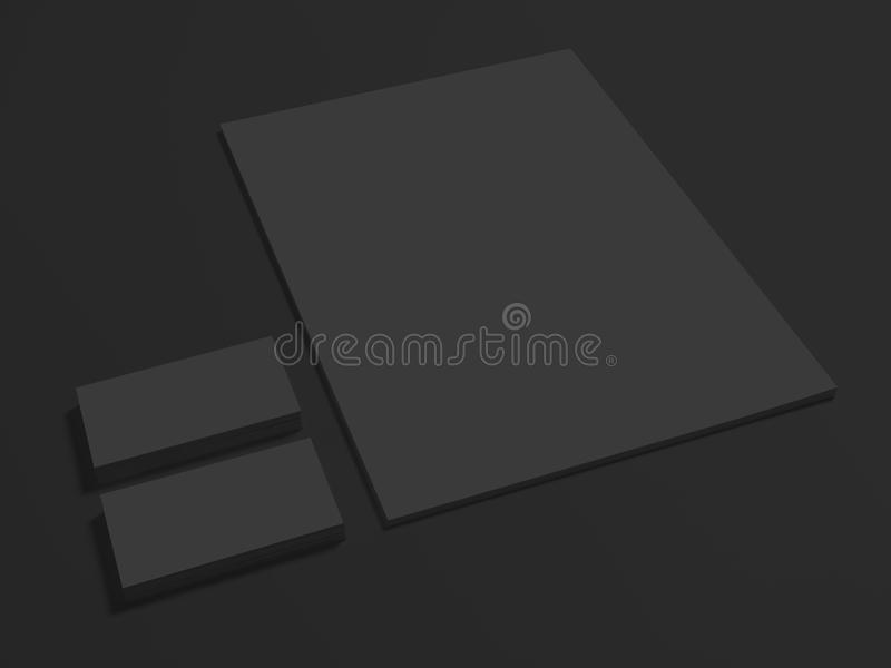 Black branding mockup on dark with business cards stock illustration download black branding mockup on dark with business cards stock illustration illustration of clean colourmoves