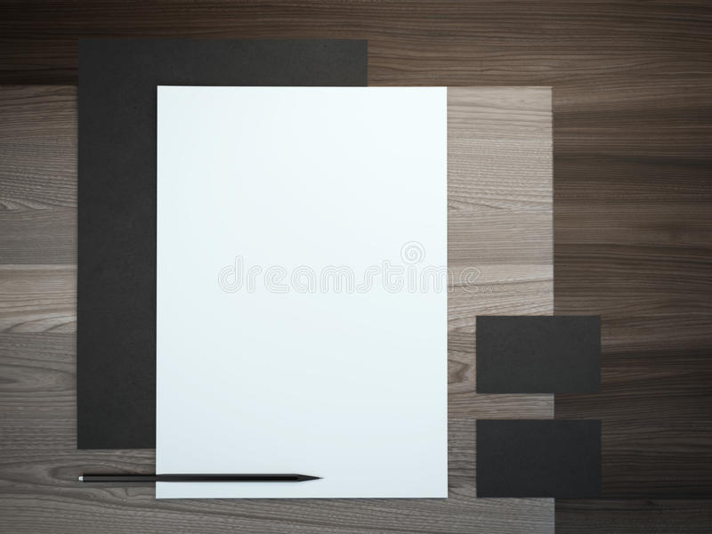 Black branding mockup with pencil stock images