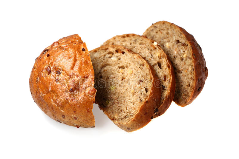 Black Bread With  Bred Grains Stock Photos
