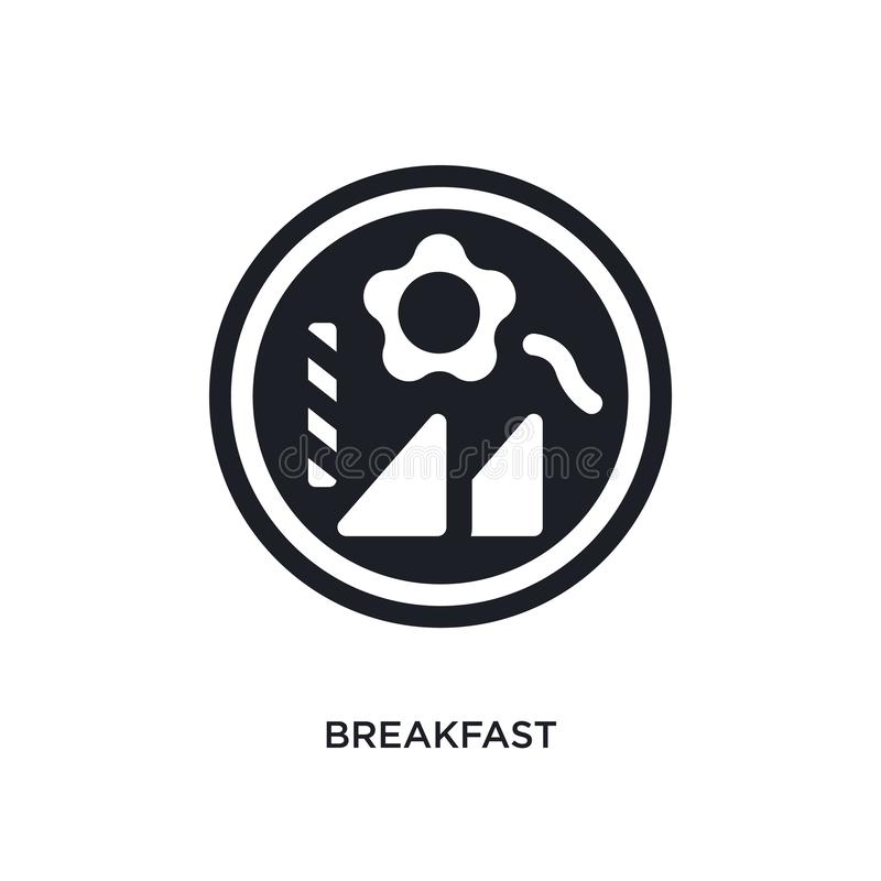 Black breakfast isolated vector icon. simple element illustration from accommodation concept vector icons. breakfast editable logo. Symbol design on white vector illustration