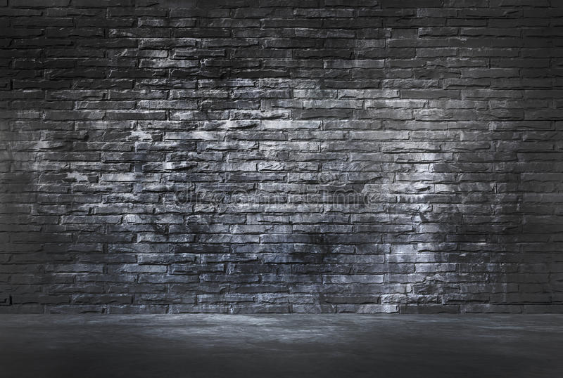 Black Brick Wall and Cement Floor stock photography
