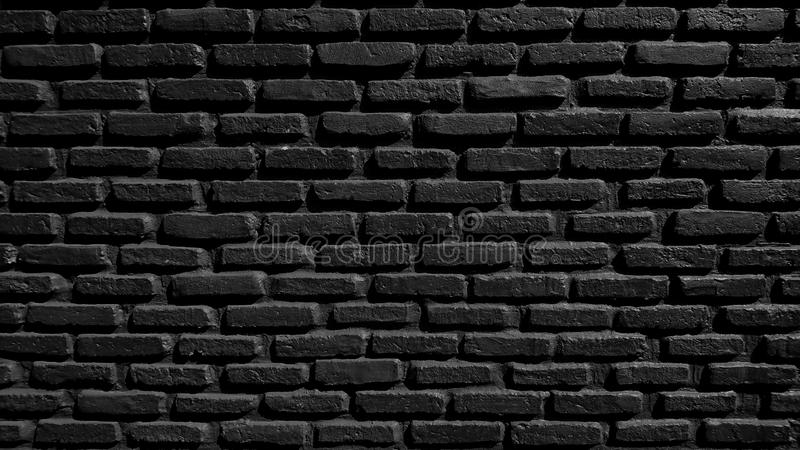Black brick wall concrete background  old vintage  horizontal architecture dark wallpaper texture construction building for royalty free stock photos