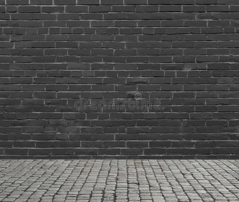 Black brick wall and floor. stock photo