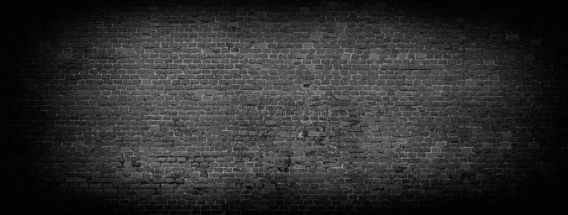 Black brick wall panoramic background. royalty free stock photo